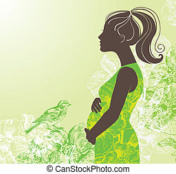 silueta, de, mulher grávida