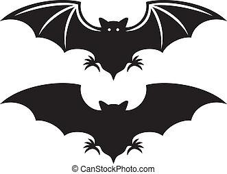 silueta, de, murciélago, (flight, de, un, bat)