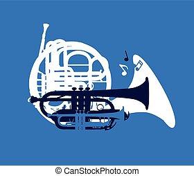 silueta, de, musical, instrumentos vento, festival jazz, cartão, vetorial, ilustração