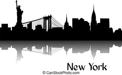 silueta, de, nueva york