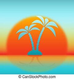 silueta, de, palmera, contra, sol creciente