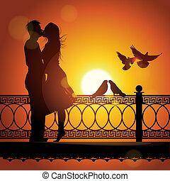 silueta, de, par, apaixonadas, beijando, em, pôr do sol