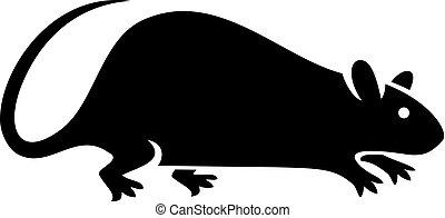 silueta, de, rata, vector, ilustración
