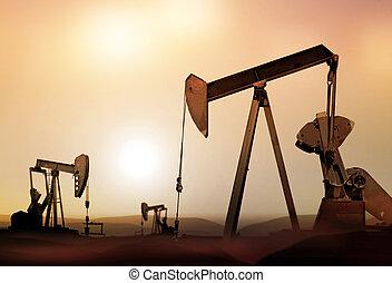 silueta, de, retro, petróleo bombea