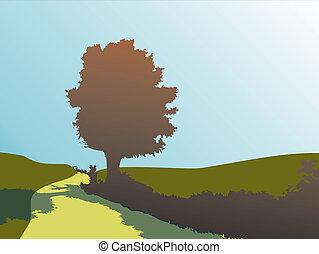 silueta, de, roble, en, otoño