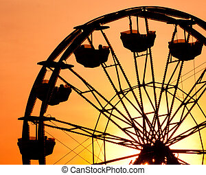 silueta, de, roda ferris, em, pôr do sol, em, município,...