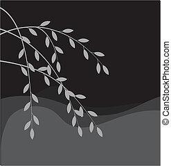 silueta, de, salgueiro, ramo