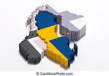 silueta, de, suecia, mapa, con, bandera