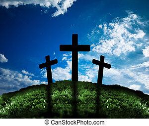 silueta, de, tres, cruces, en, un, colina