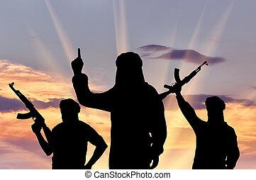 silueta, de, tres, terroristas