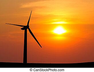 silueta, de, turbina del viento, generar, electricidad, en,...
