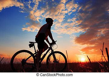 silueta, de, um, biker, e, bicicleta, ligado, pôr do sol, experiência.