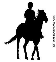 silueta, de, um, cavaleiro, ligado, um, cavalo
