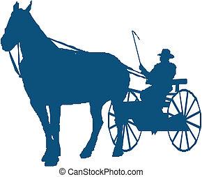 silueta, de, um, cavalo buggy