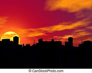 silueta, de, um, cidade, em, sunset.