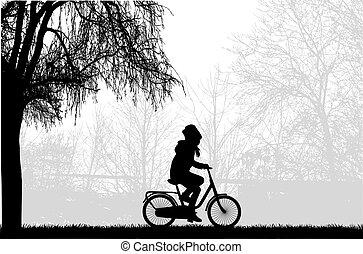 silueta, de, um, criança, ligado, um, bike.