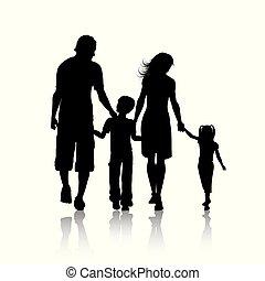 silueta, de, um, família