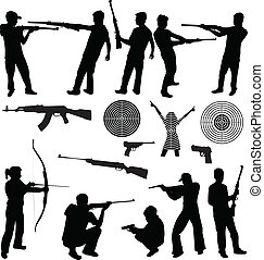 silueta, de, um, homem, tiroteio, e, armas fogo