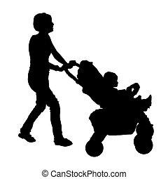silueta, de, um, mãe, com, um, carrinho criança, e, um, bebê