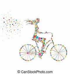 silueta, de, um, menina numa bicicleta