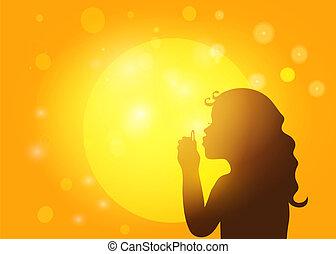 silueta, de, um, menininha, bolhas sabão soprando, experiência, de, pôr do sol, paz mundial, concept., vetorial, eps10.