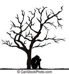 silueta, de, um, mulher triste, sob, um, leafless, árvore