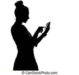 silueta, de, um, mulher, uisng, a, smartphone