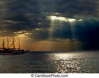 silueta, de, um, navio, em, sunset.