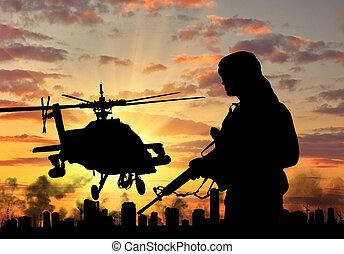 silueta, de, um, terrorista, e, um, helicóptero