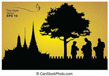 silueta, de, un, buddha