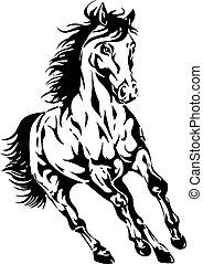 silueta, de, un, caballo