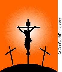 silueta, de, un, crucifijo