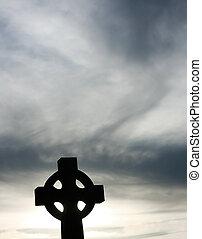 silueta, de, un, cruz