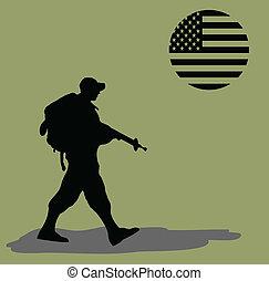 silueta, de, un, ejército, soldado