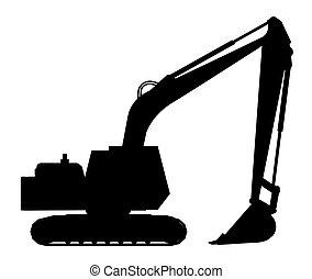 silueta, de, un, excavador