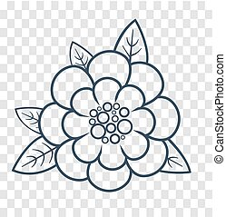 silueta, de, un, flor, lineal, estilo