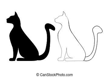 silueta, de, un, gato
