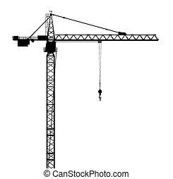 silueta, de, un, grúa construcción