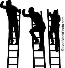 silueta, de, un, hombre, en, un, ladder.