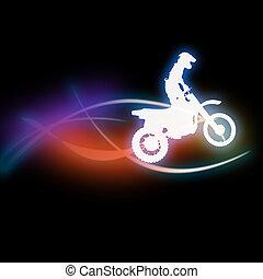 silueta, de, un, hombre, en, un, motorcycle.