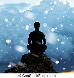 silueta, de, un, hombre meditar, en, posición lotus