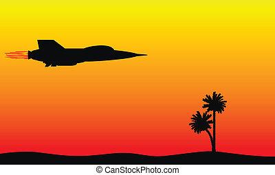 silueta, de, un, luchador, el volar encima, el, desierto