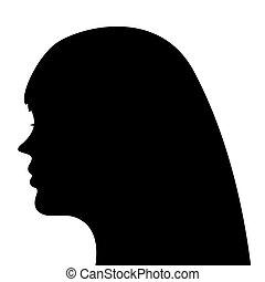 silueta, de, un, mujer, cabeza encendido, un, fondo blanco