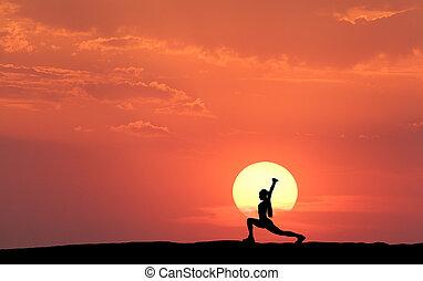 silueta, de, un, posición, deportivo, mujer, practicar, yoga