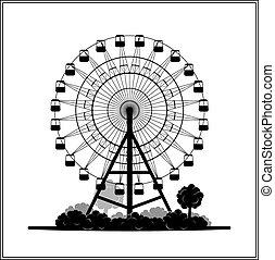 silueta, de, un, rueda de ferris, en el parque
