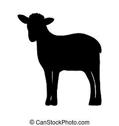 silueta, de, un, sheep