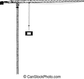silueta, de, uno, construcción, cranes., vector, ilustración