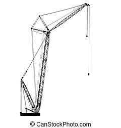 silueta, de, uno, cranes., vector, illustration.