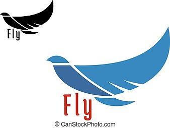 silueta, de, vuelo, pájaro azul
