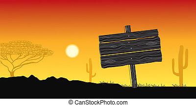 silueta, debajo, árbol, ilustración, solo, vector, sun., africano